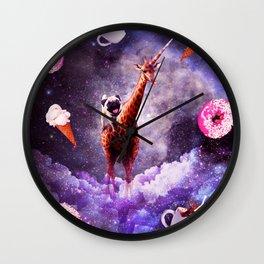 Outer Space Pug Riding Giraffe Unicorn - Donut Wall Clock