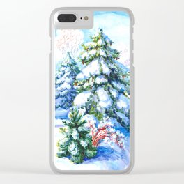 Sunny winter day Christmas tree holiday snowman fairy tale Clear iPhone Case