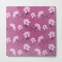 Pink Flowers on Lavender/Mauve background, floral pattern Metal Print