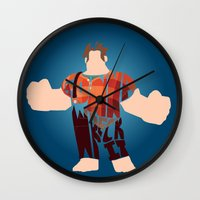 wreck it ralph Wall Clocks featuring I'm Gonna Wreck It Typography by Rebecca McGoran