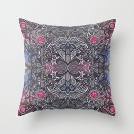 Bohemian Zen Mandala Doodle Watercolor Throw Pillow