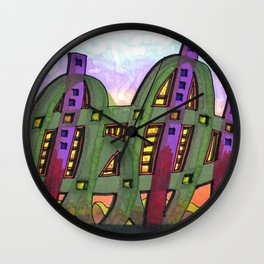 Abstract Cactus Architectural Design 84 Wall Clock