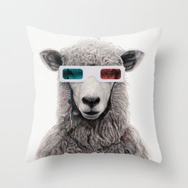 3D sheep Throw Pillow