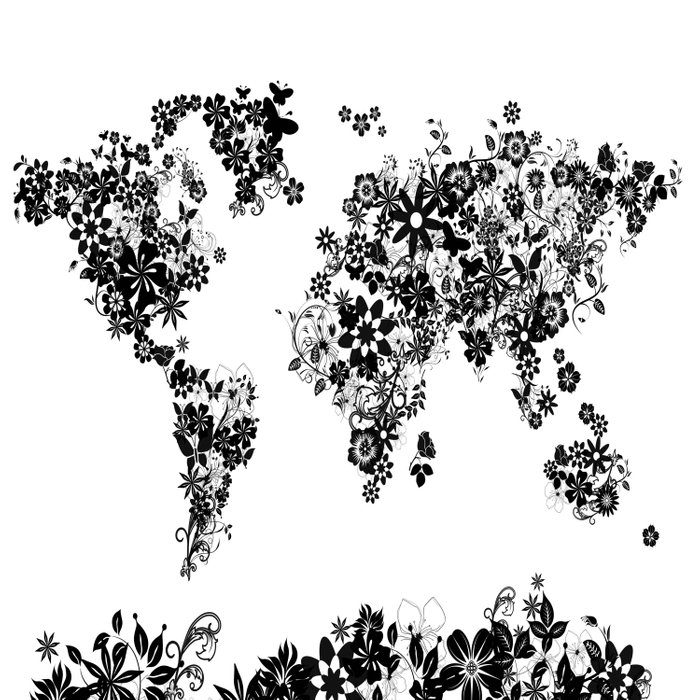 world map white and black