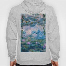 Water Lilies Monet Teal Hoody