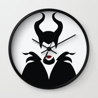 maleficent Wall Clocks featuring MALEFICENT by SaladInTheWind