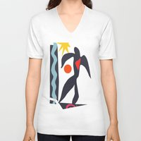 matisse V-neck T-shirts featuring inspired to Matisse (black) by Chicca Besso