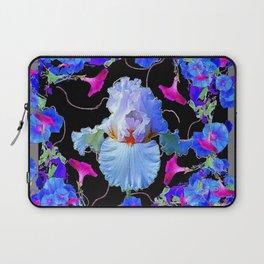 BLUE MORNING GLORIES & WHITE IRIS  SPRING  GARDEN ART Laptop Sleeve