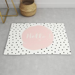Hello! Black on white Polkadots and pink Typography Rug