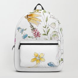 wild flowers and blue bird _ink and watercolor 1 Backpack