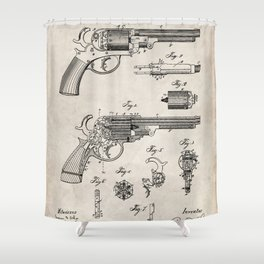 Western Revolver Patent - Antique Firearm Art - Antique Shower Curtain