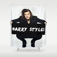 harry styles Shower Curtains featuring Harry Styles  by girllarriealmighty