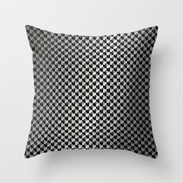 Black and Silver Gray Ghost Checkerboard Weimaraner Throw Pillow