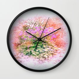 pastell colored flowers Wall Clock