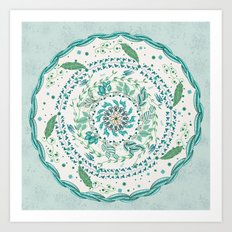 Leaf and Feather Calming Turquoise Mandala Art Print