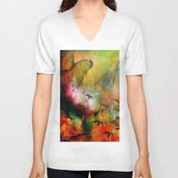 chinese V-neck T-shirts featuring Chinese landscape by Joe Ganech