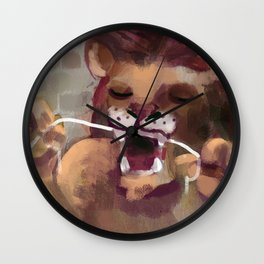 lion flossing Wall Clock