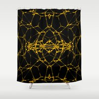dna Shower Curtains featuring Gold DNA by kartalpaf
