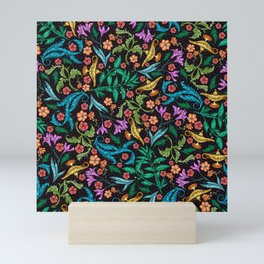 Asian-Inspired Floral Pattern With Gold Magical Lanterns Mini Art Print
