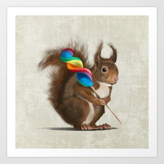 Squirrel with lollipop Art Print