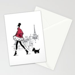 Just Walking Her Dog - Chic Parisian Girl in Red Jacket Stationery Cards