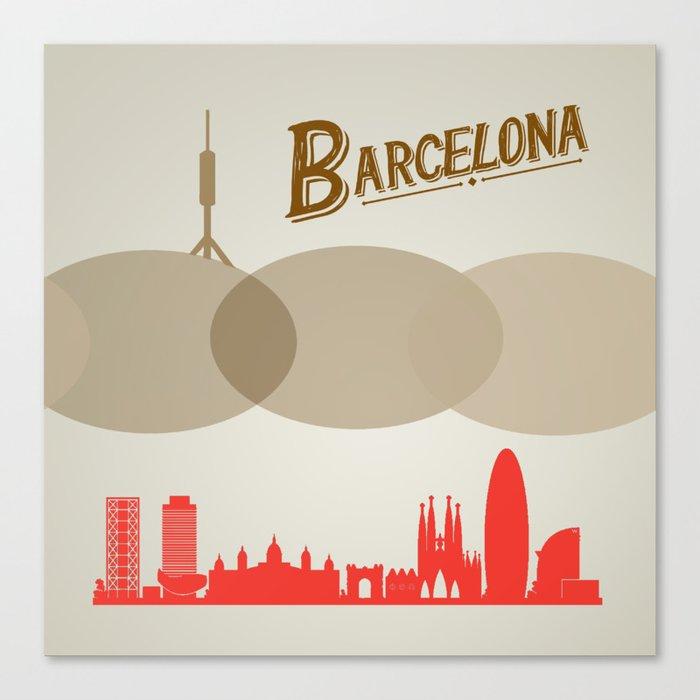 Barcelona City Illustration Canvas Print