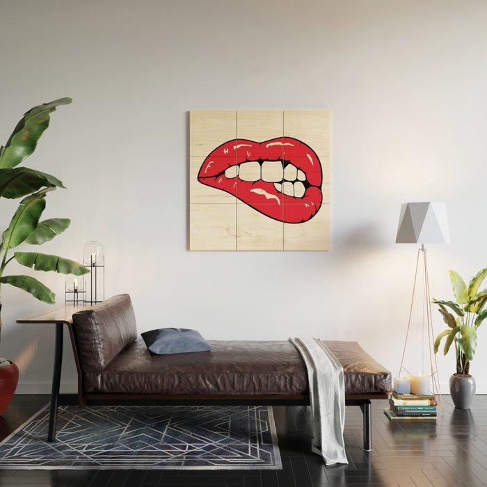 Red Lips Pop art Wood Wall Art
