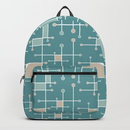 Intersecting Lines in Teal, Tan and Sea Foam Backpack