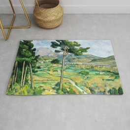 12,000pixel-500dpi - Paul Cezanne - Mont Sainte-Victoire and the Viaduct of the Arc River Valley Rug