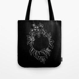 Black Floral Circle Tote Bag
