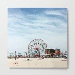 Coney Island Beach New York Metal Print