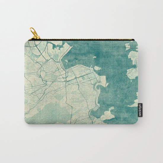 Rio de Janeiro Map Blue Vintage Carry-All Pouch