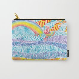 Sea beach with a rainbow and shells - abstract doodle colorful landscape Carry-All Pouch