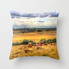 Cows And a Passing Train Throw Pillow