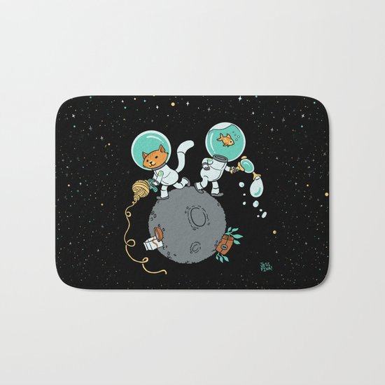 Space Kitty and Captain Fish Bath Mat