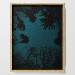 Tall Forest Trees Under a Starry Sky Serving Tray
