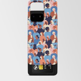 Female diverse faces of different ethnicity blue Android Card Case