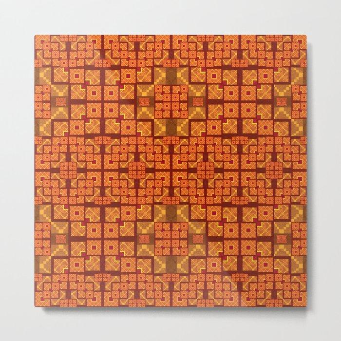 Lush Vibrant Orange Geometric Glow Quilt Print Metal Print