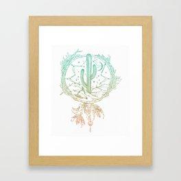 Desert Cactus Dreamcatcher Turquoise Coral Gradient on White Framed Art Print