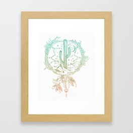 Desert Cactus Dreamcatcher Turquoise Coral Gradient on White Framed Art Print