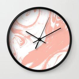 Marble pink 1 Suminagashi watercolor pattern art pisces water wave ocean minimal design Wall Clock