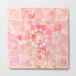 Abstract Peach Flower Metal Print