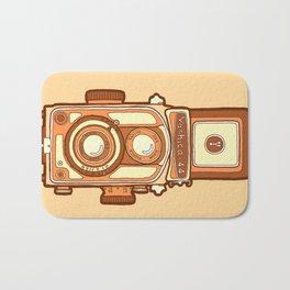 Vintage camera orange Bath Mat