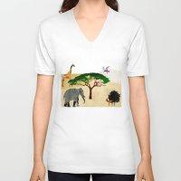 safari V-neck T-shirts featuring Safari by Design4u Studio