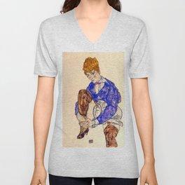 "Egon Schiele ""Portrait of the Artist's Wife Seated, Holding Her Right Leg"" Unisex V-Neck"