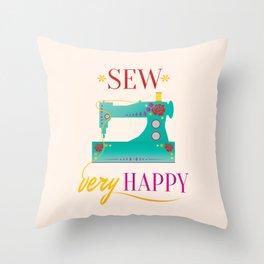 Sew Very Happy Throw Pillow