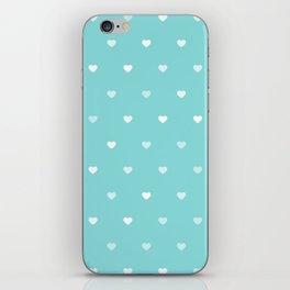 Baby Blue Heart Pattern iPhone Skin