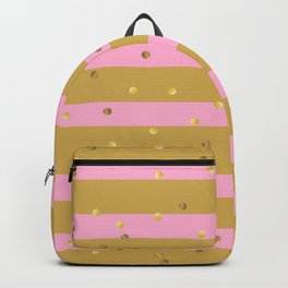 Christmas Golden confetti on Gold and Pink Stripes Backpack