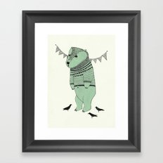 green bear Framed Art Print