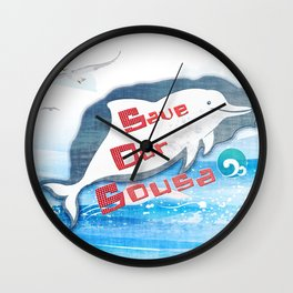 LOVE TAIWAN PINK DOLPHINS / SAVE TAIWAN PINK DOLPHINS Wall Clock
